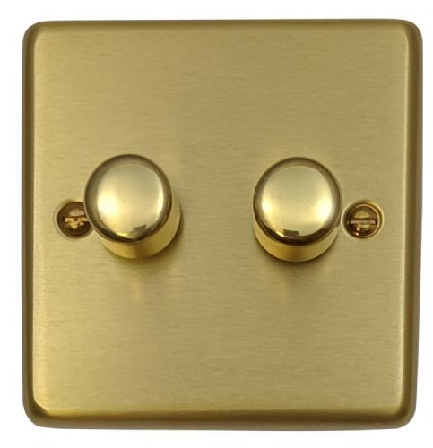 G&H CSB12 Standard Plate Satin Brushed Brass 2 Gang 1 or 2 Way 40-400W Dimmer Switch